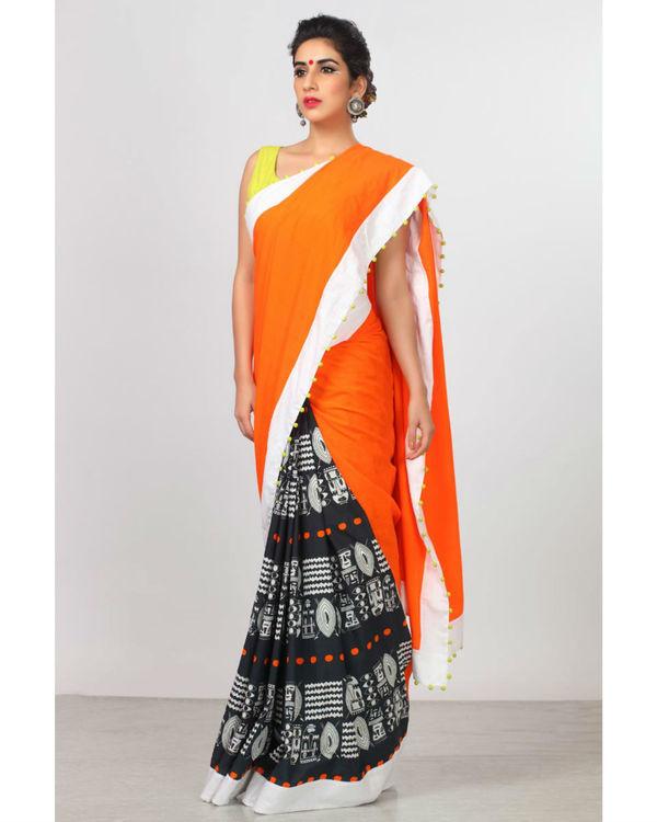 Persimmon orange sari