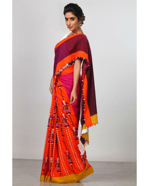 Shades of plum and orange sari