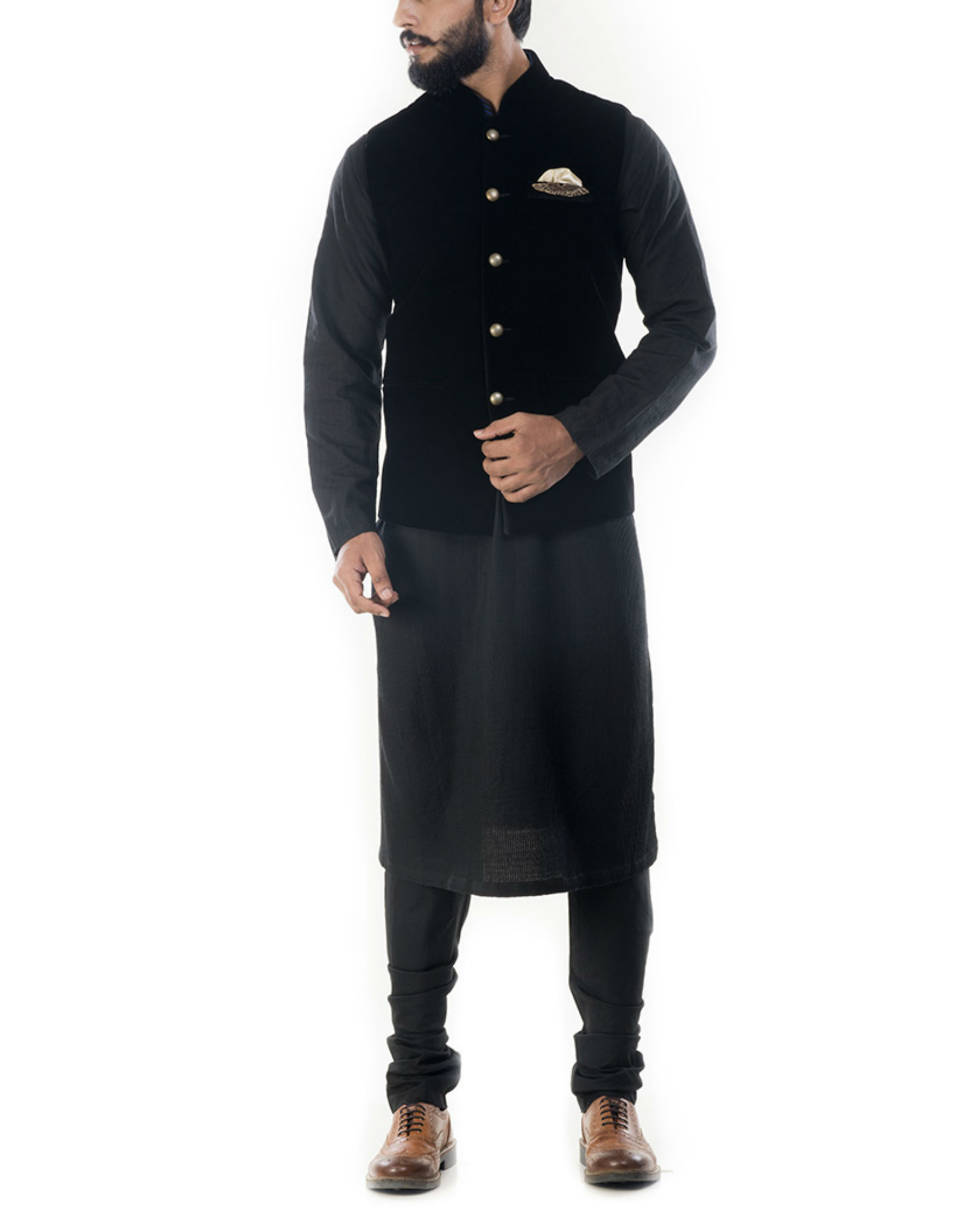Black solid kurta with jet black velvet jacket