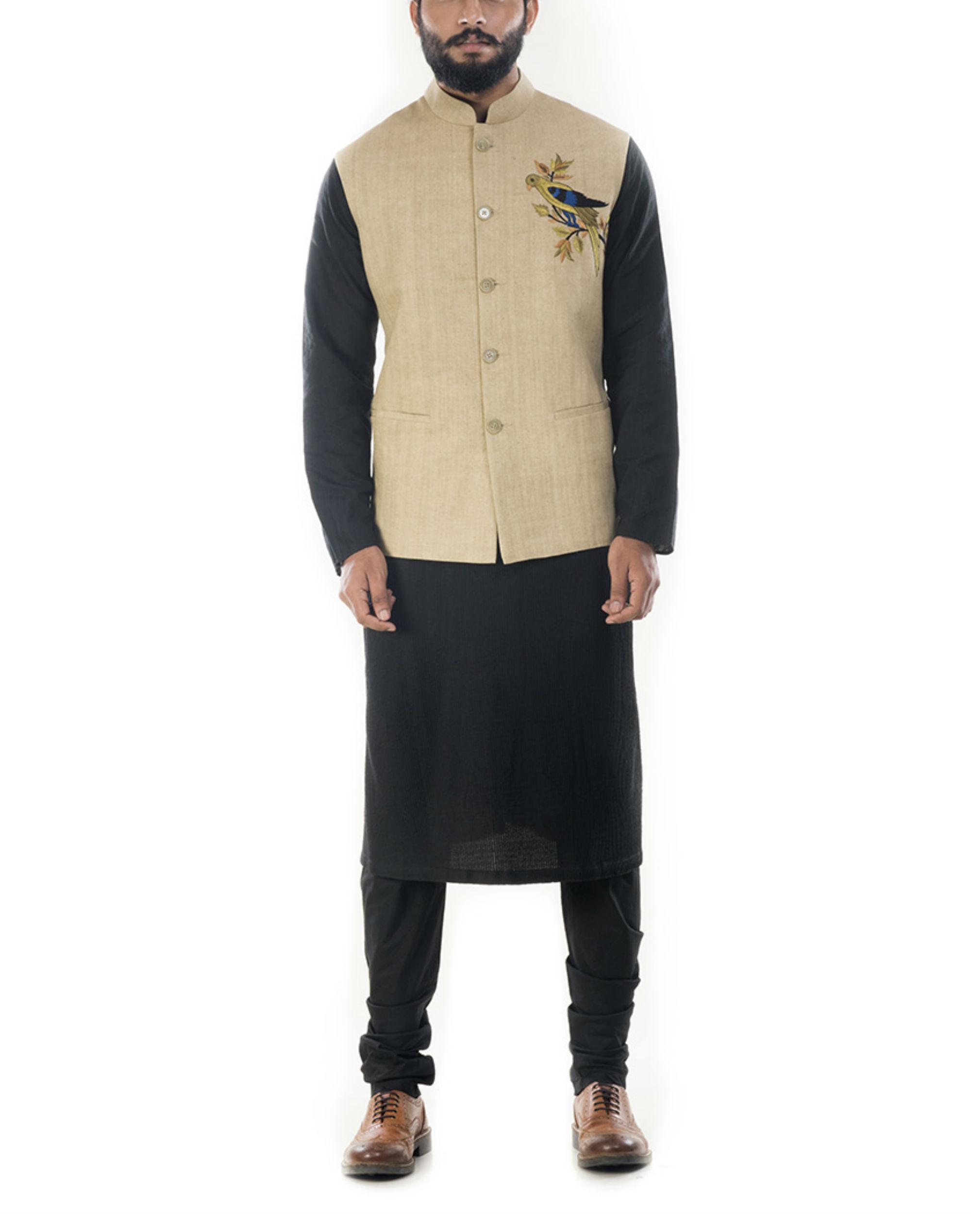 Black solid kurta with beige waistcoat