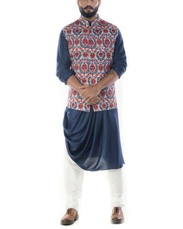 Royal blue cowl drapped kurta with printed  waistcoat