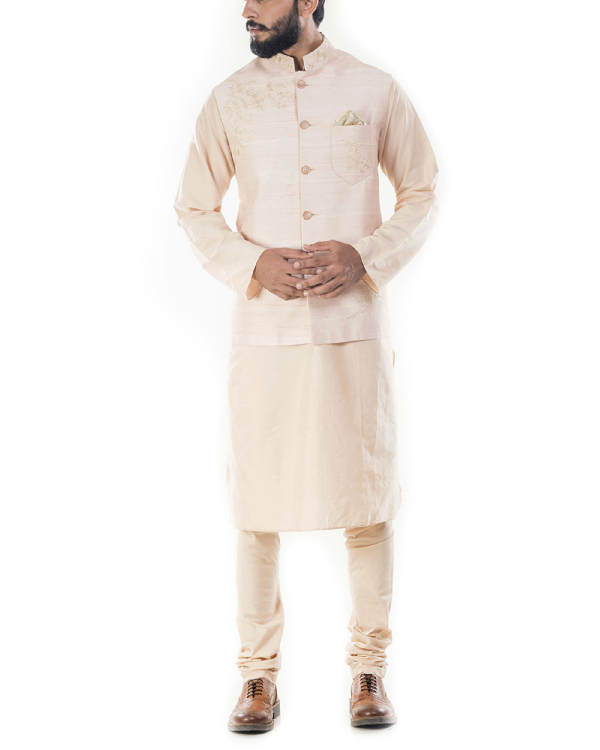 Light beige kurta with peach jacket