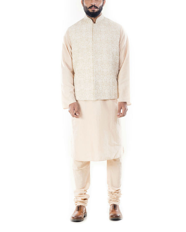 Light beige kurta with cream dori embroidery jacket