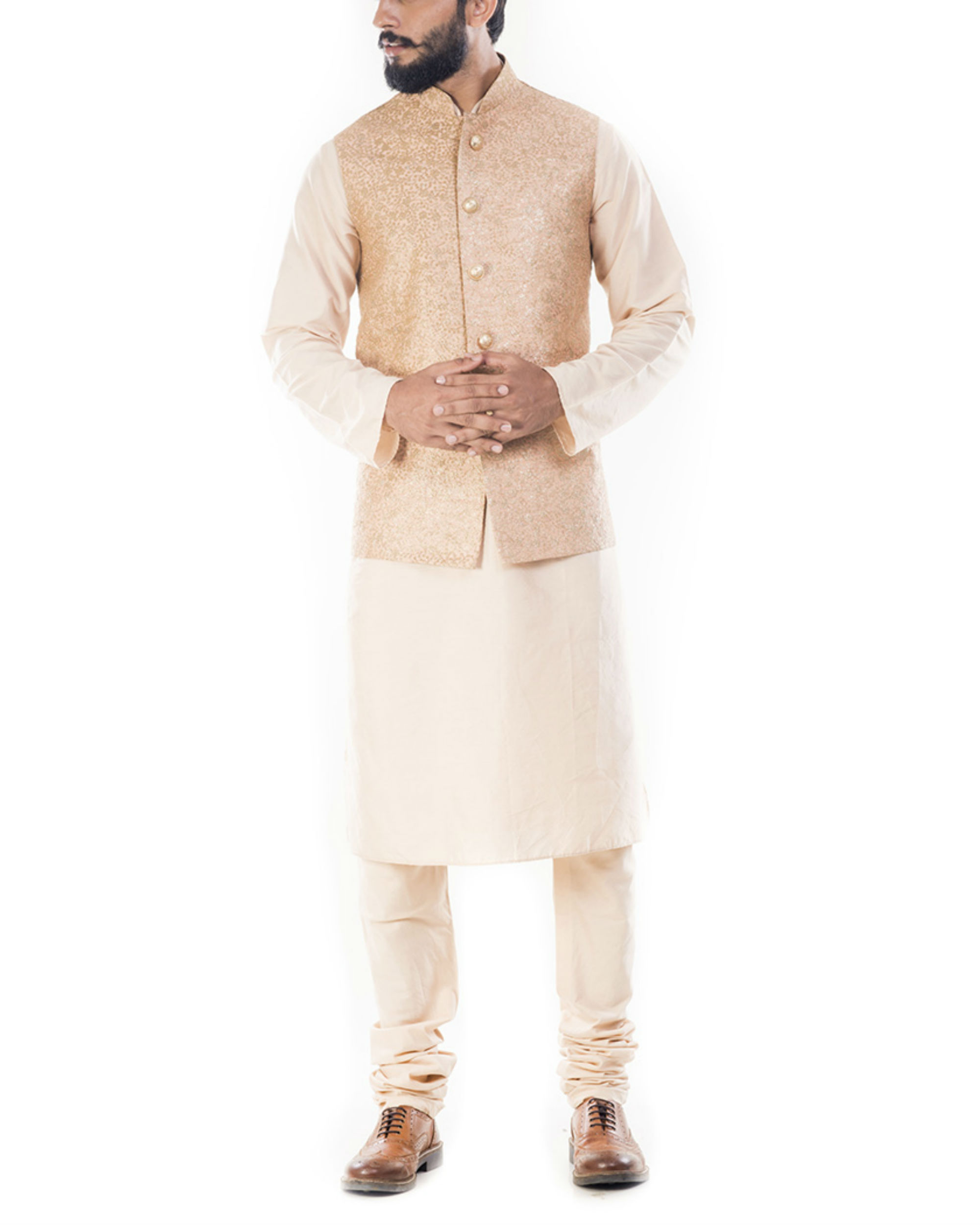 Light beige kurta with golden peach jacket