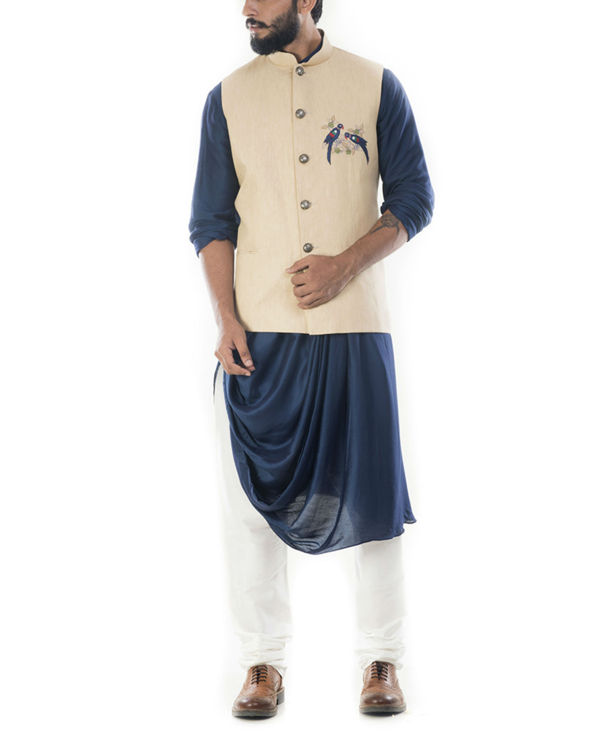 Blue cowl draped kurta with beige jacket