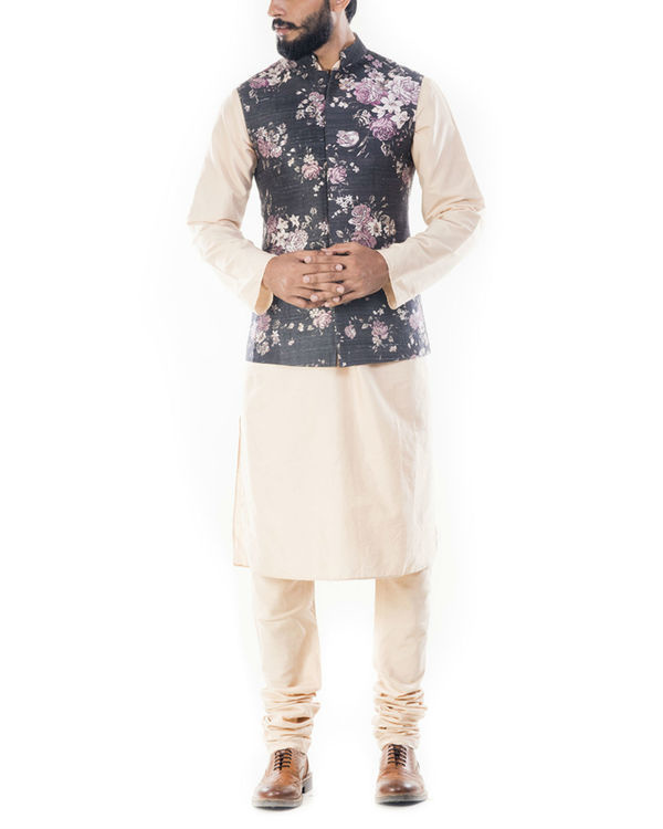 Light beige kurta with ivory floral printed jacket