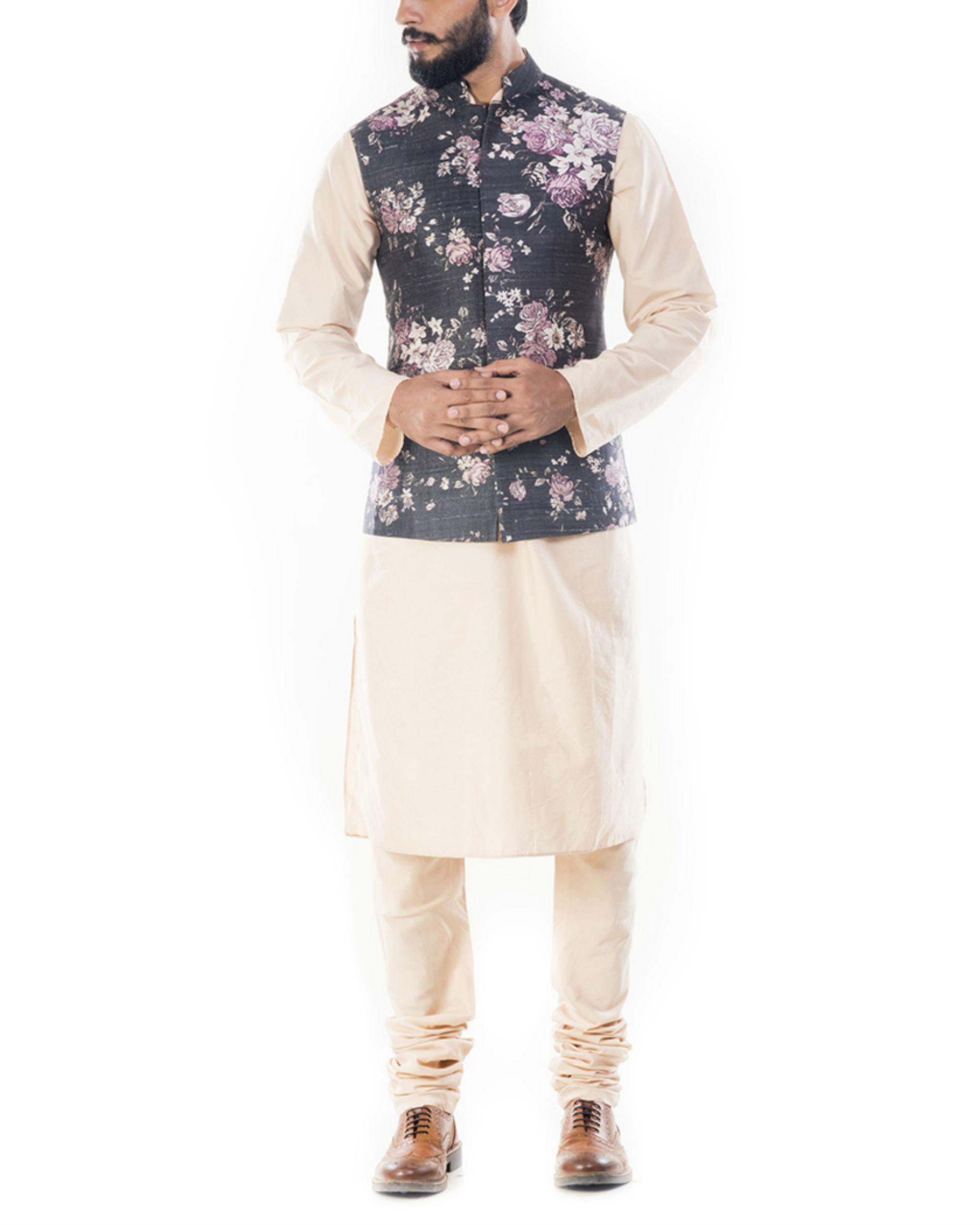 Light beige kurta with ivory floral printed jacket
