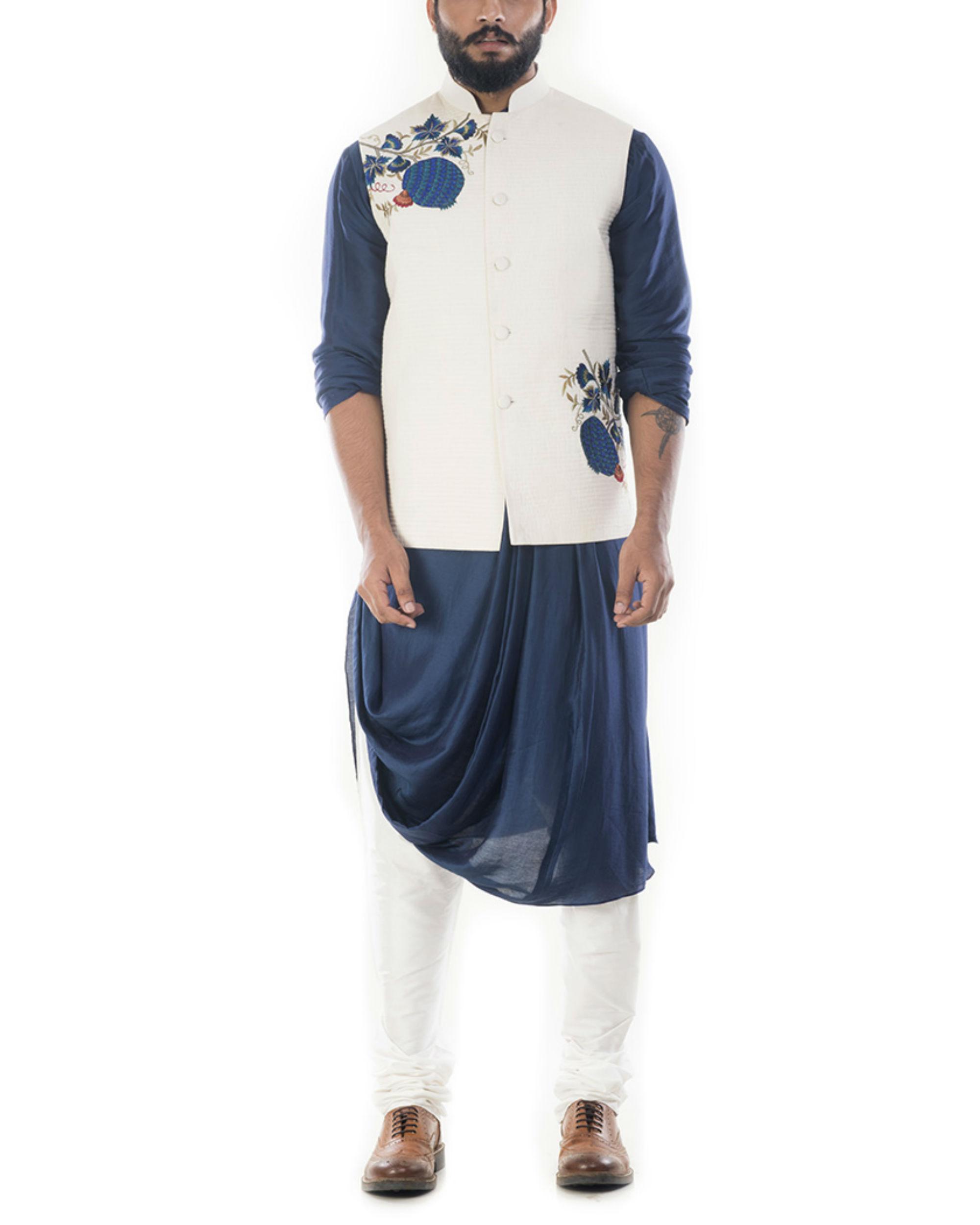 Blue cowl draped kurta with light cream jacket