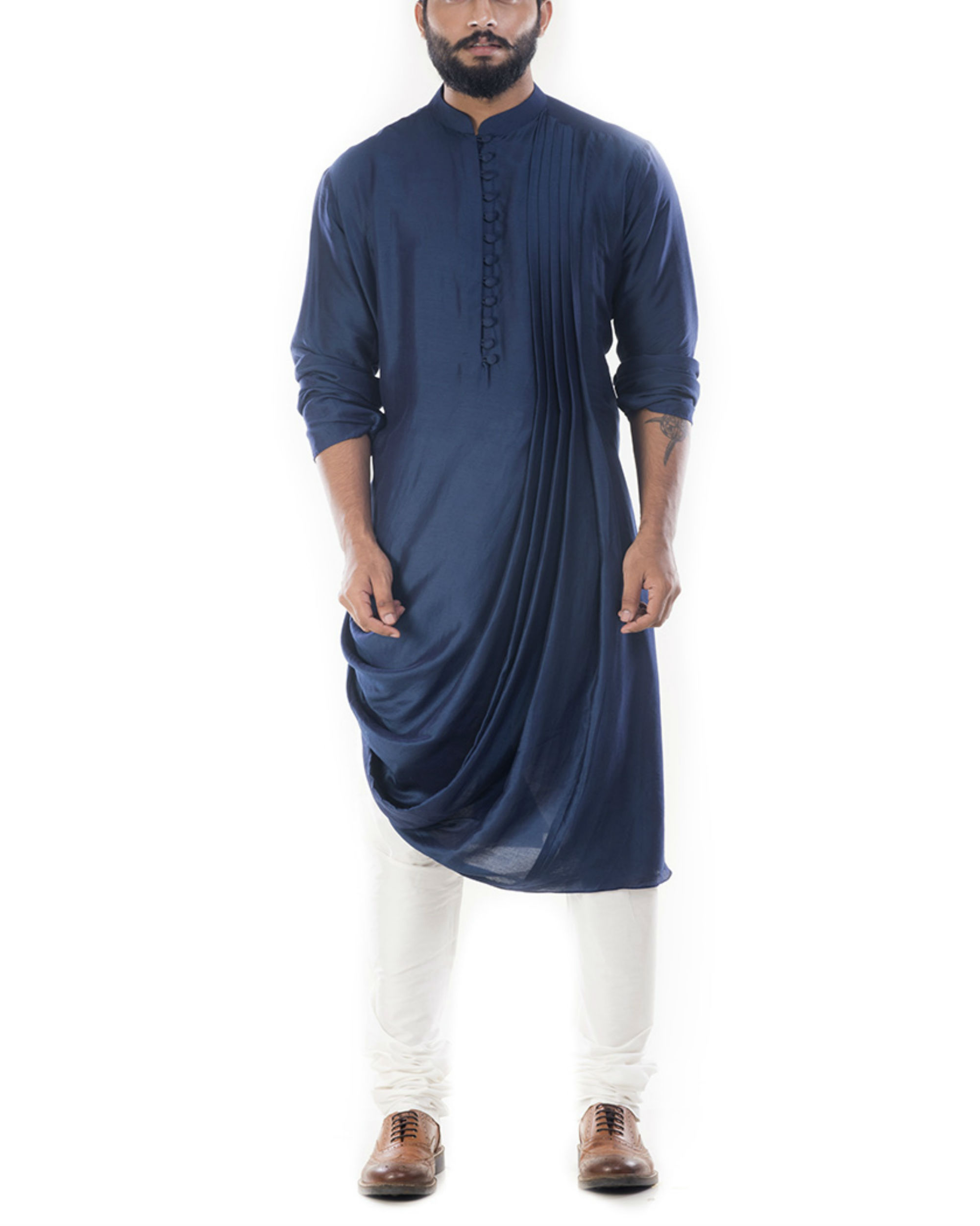 Blue cowl draped kurta with churidar pants