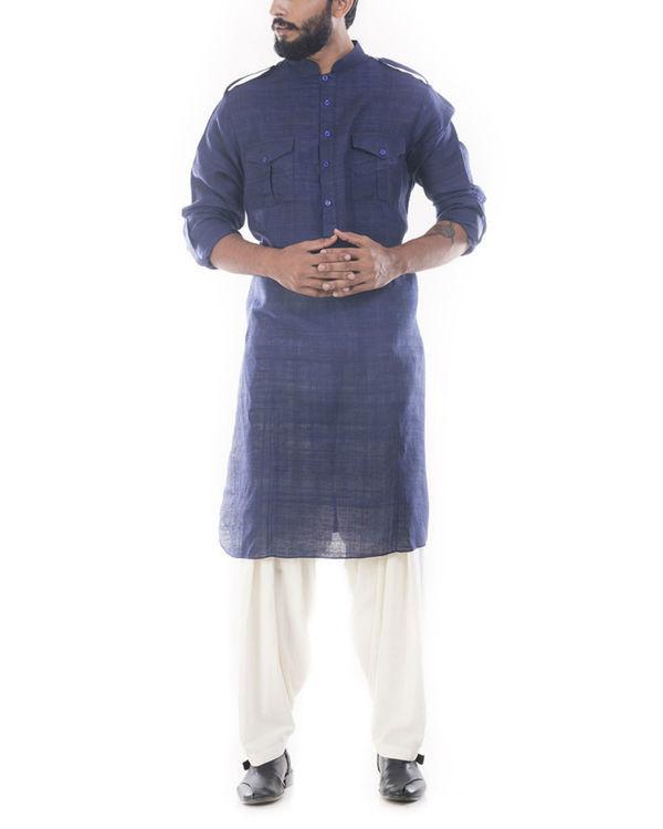 Denim blue pathani suit with salwar pants