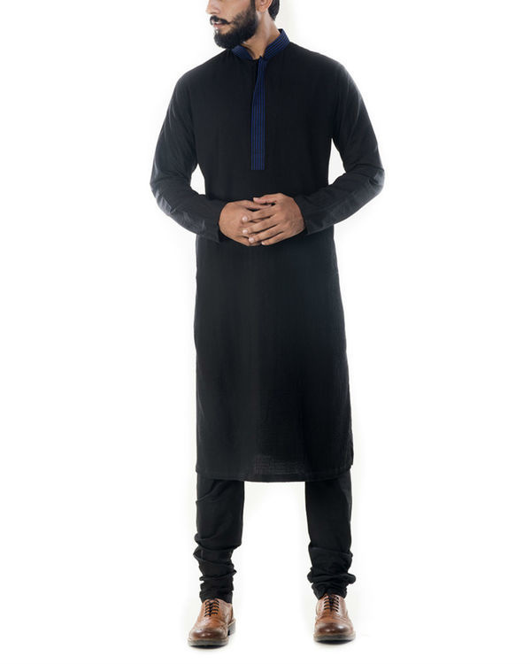Black solid cotton silk kurta with churidar pants