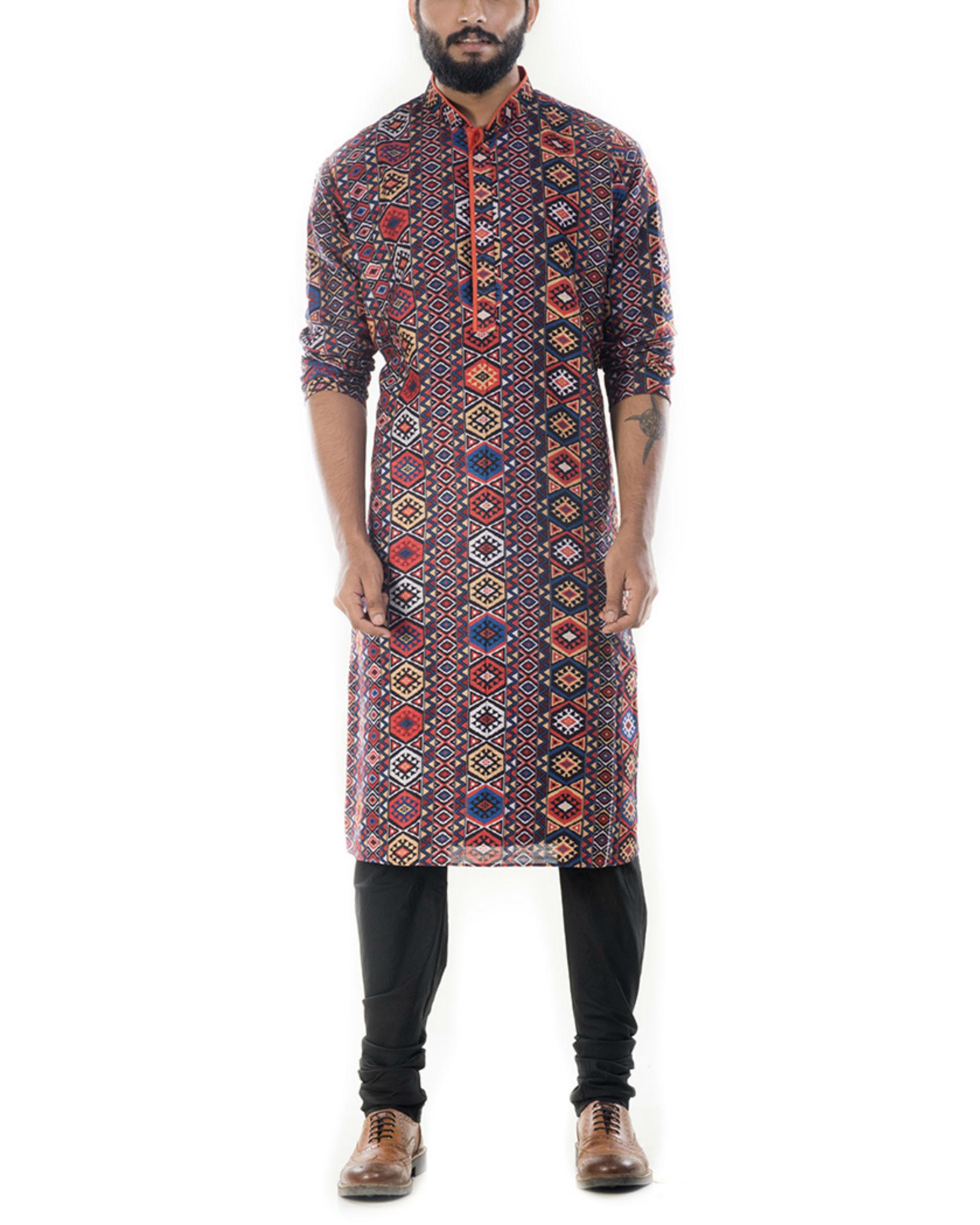 Printed kurta with black churidar pants