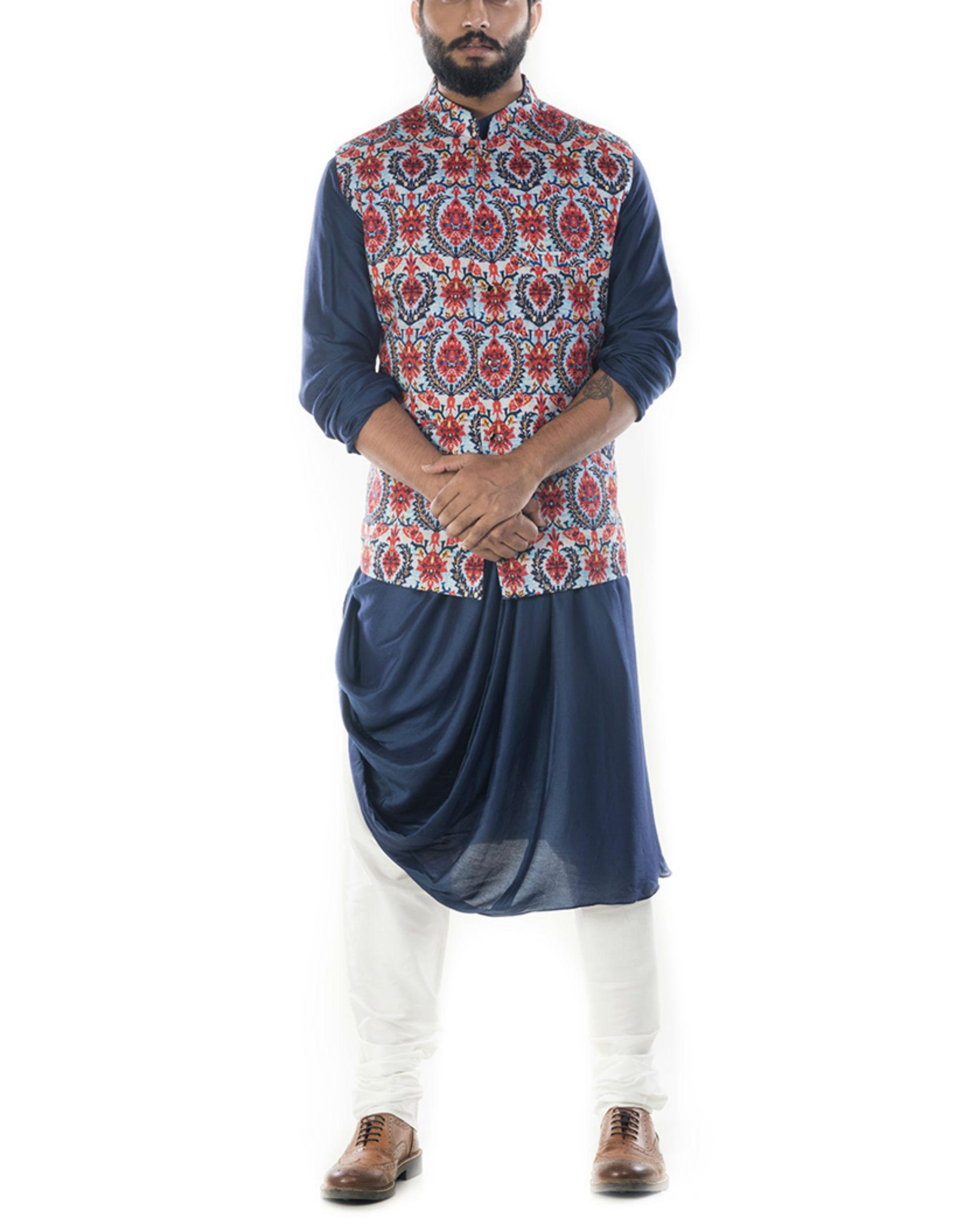 Printed bandhgala waistcoat