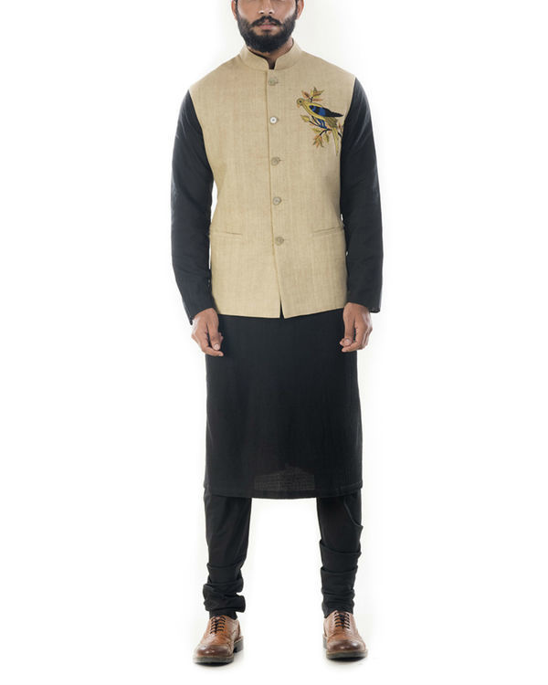 Beige motif embroidered waistcoat