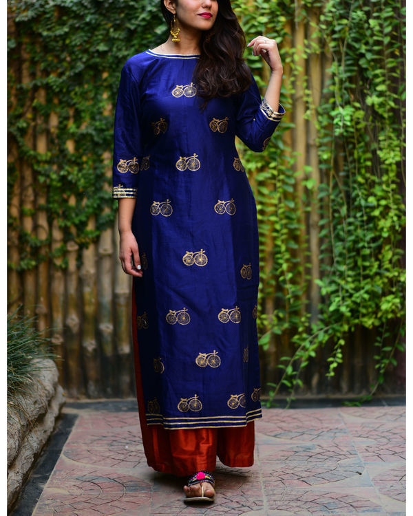 Navy blue cycle kurta set