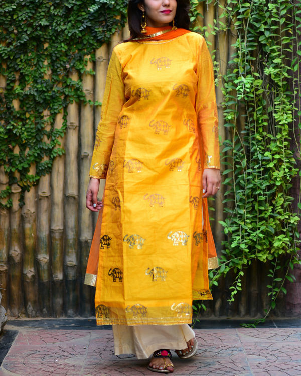 Yellow elephant kurta set with dupatta