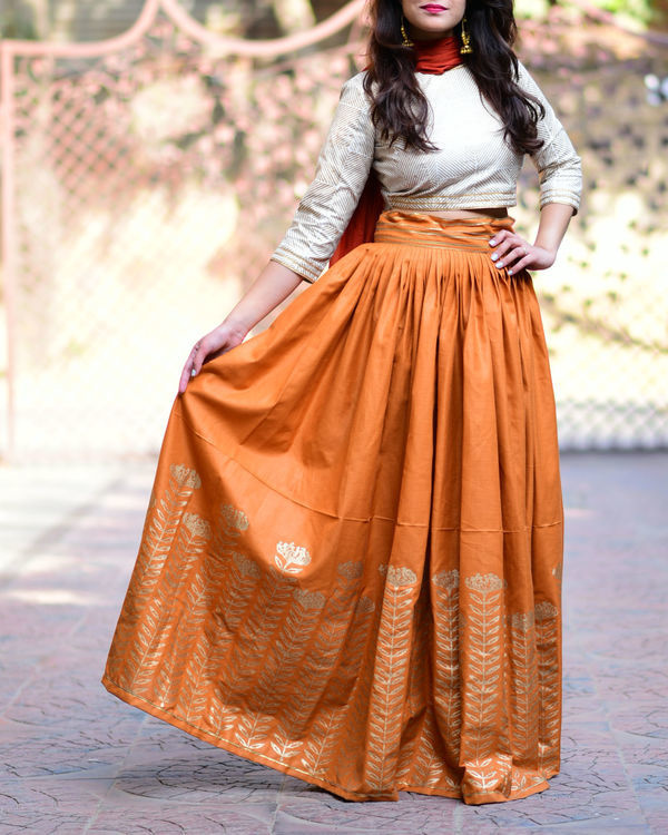 Rust floral lehenga set with dupatta