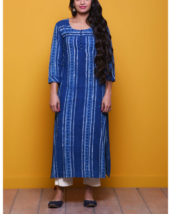 Indigo striped dot kurta