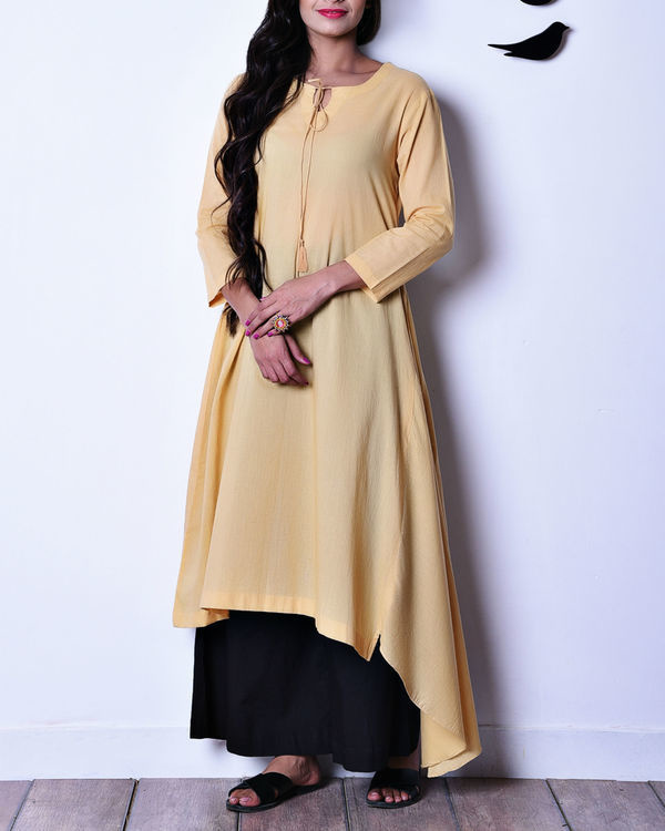 Beige side panel tunic