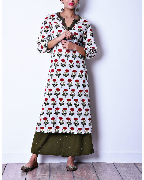 Floral kurta with olive pants