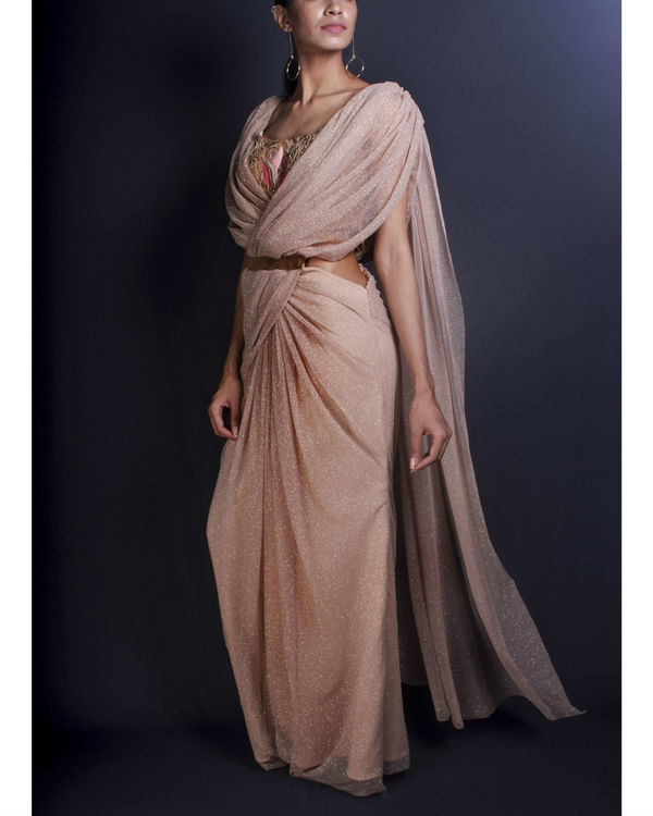 Shimmer draped sari gown