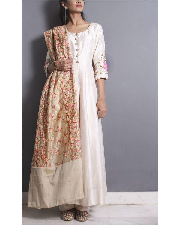 Ivory anarkali set with embroidered dupatta