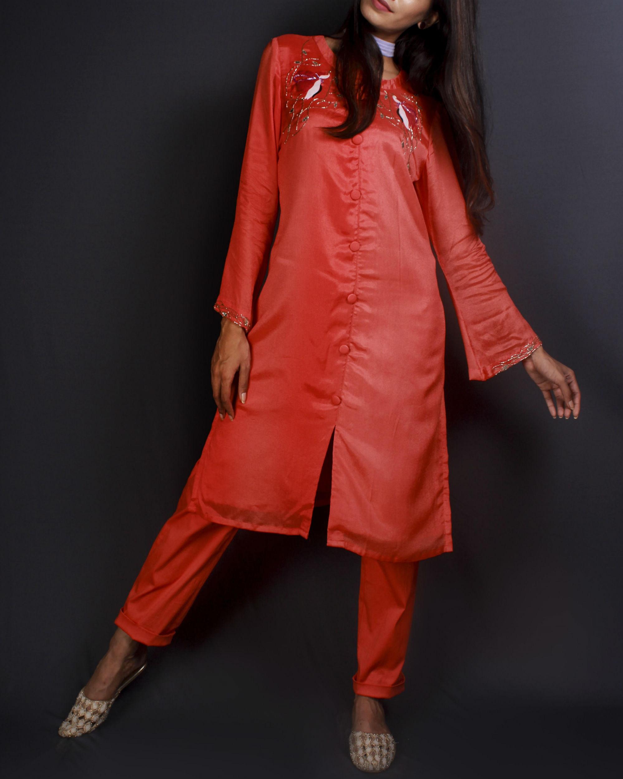 Orange kurta set with pants