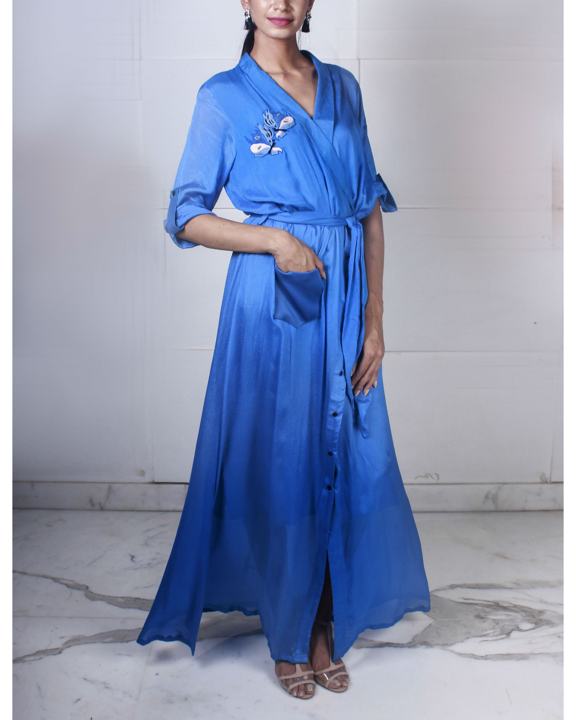 Blue overlap shirt dress
