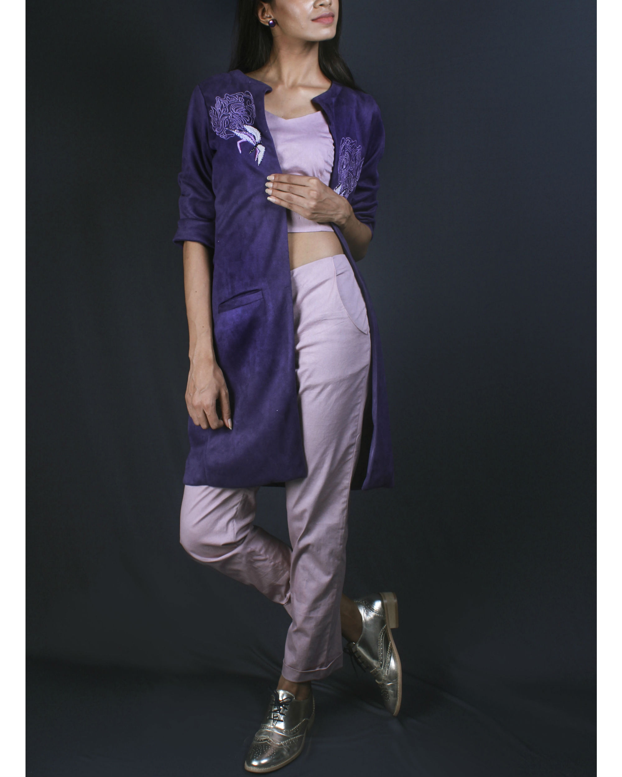Lavender crop top and pants with suede jacket