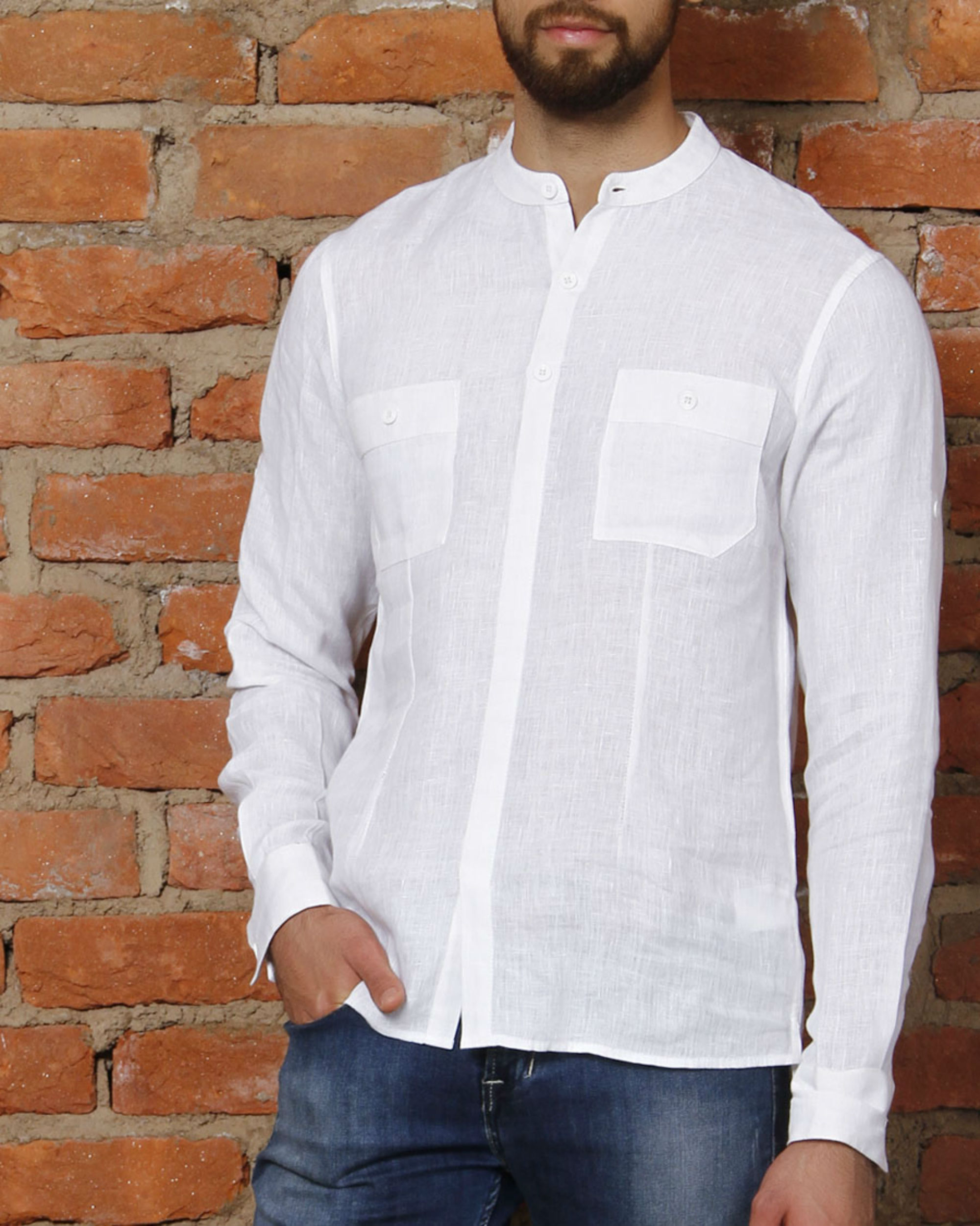 White linen kurta shirt