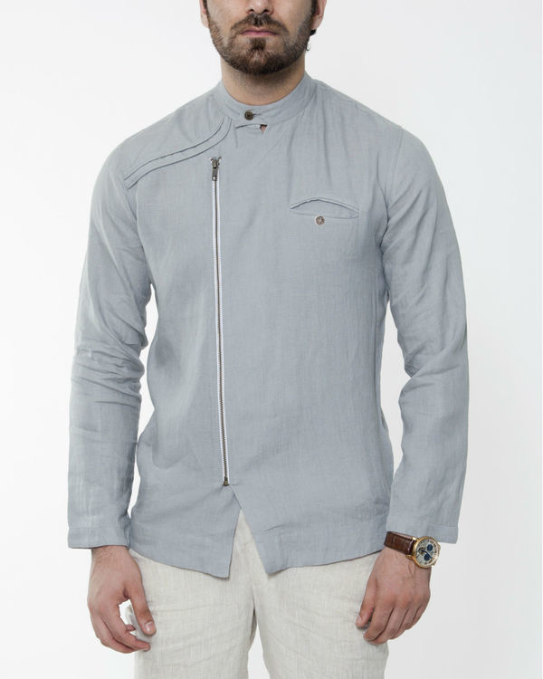 Grey cross zipper linen jacket