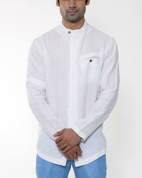 White linen invisible zipper jacket