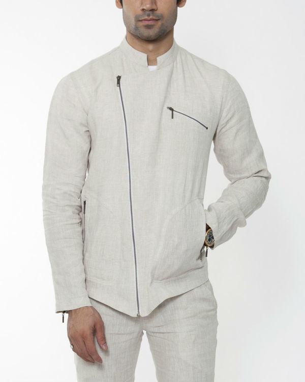 Beige linen asymmetric jacket