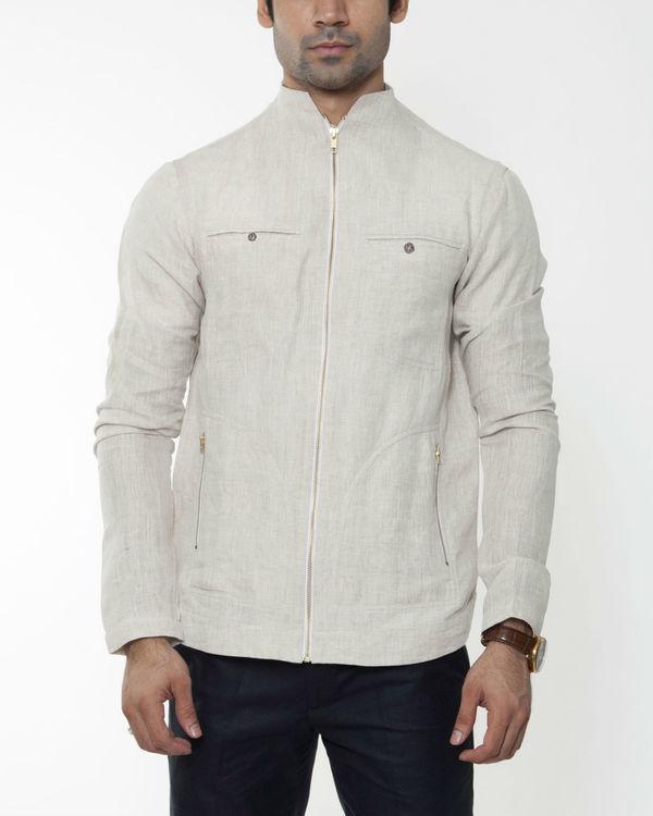 Beige linen extended collar jacket