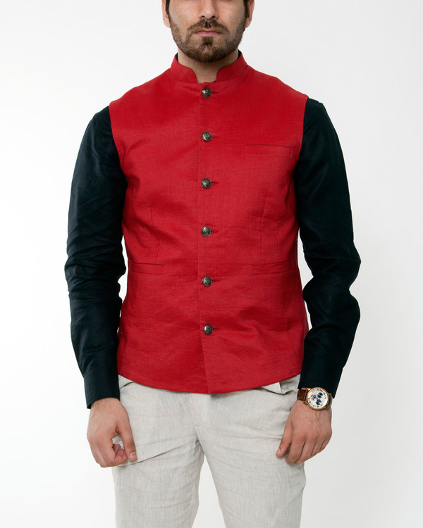 Red linen nehru jacket