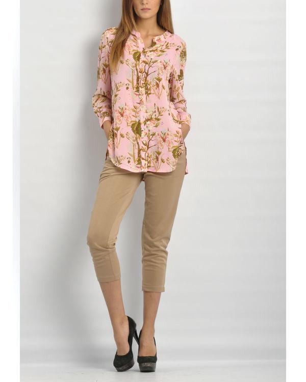 Pink butterfly button down shirt