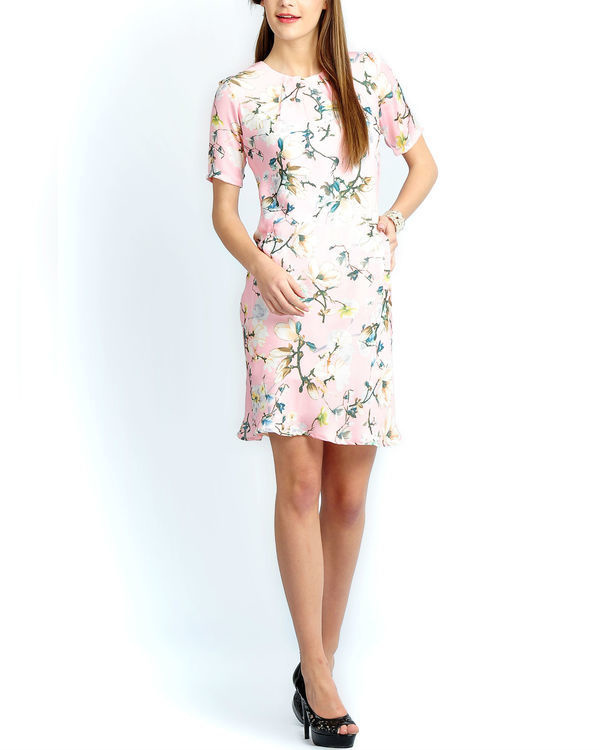 Light pink floral pleated dress