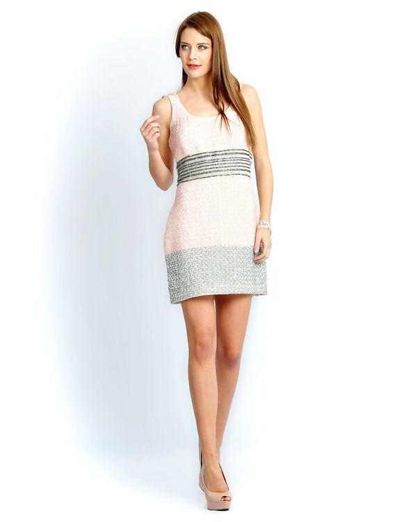 Ivory pink beaded dress