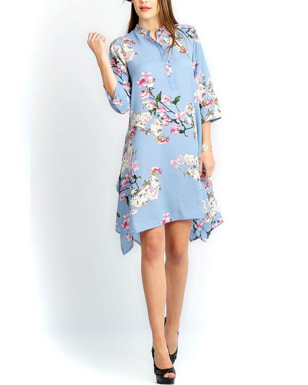 Blue floral a-line shirt