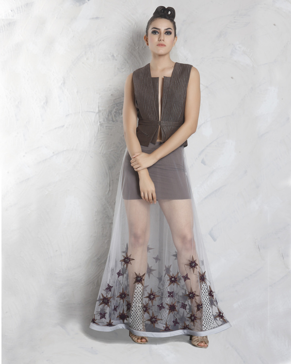 Grey mesh skirt with cedar jacket
