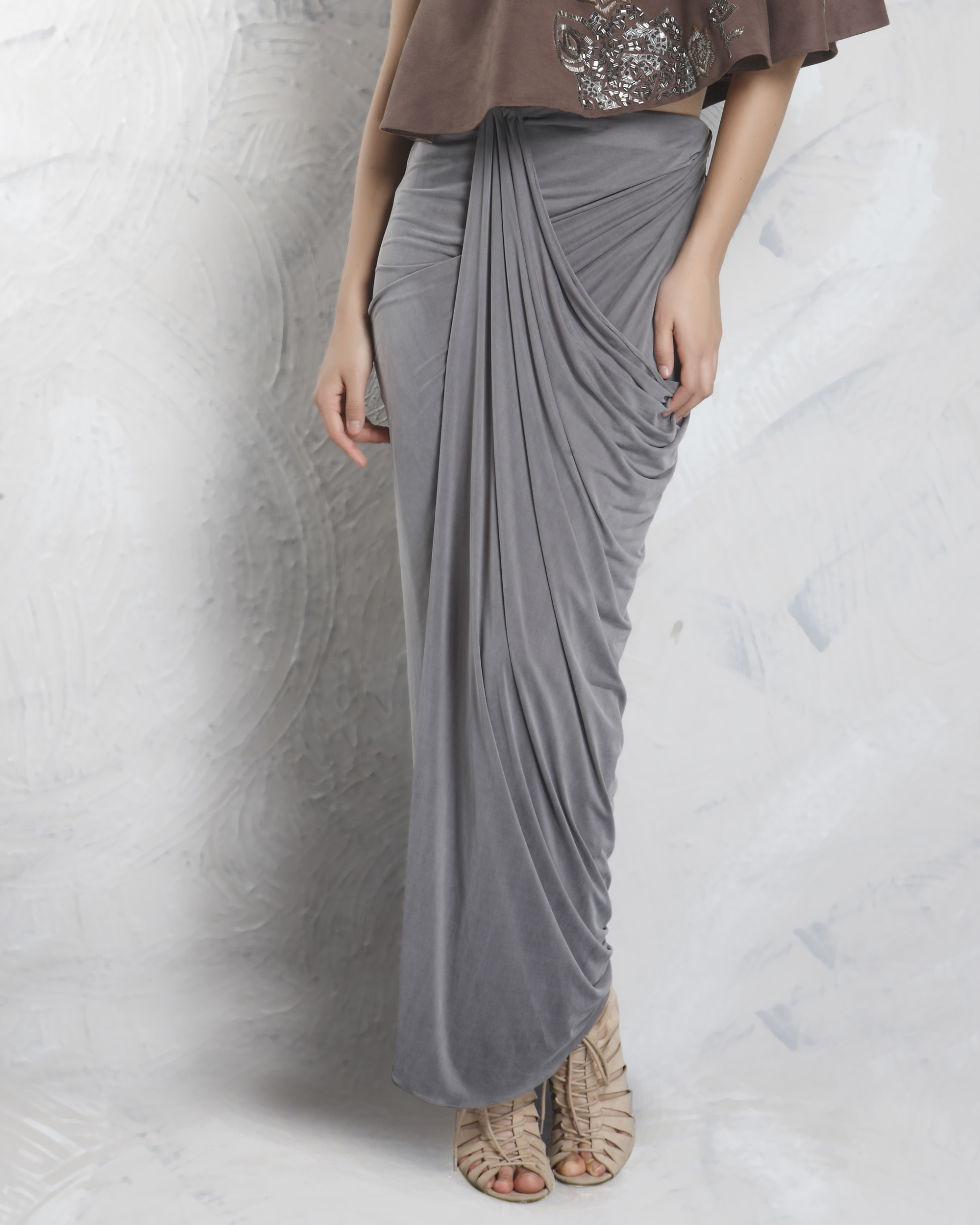 Grey drape skirt