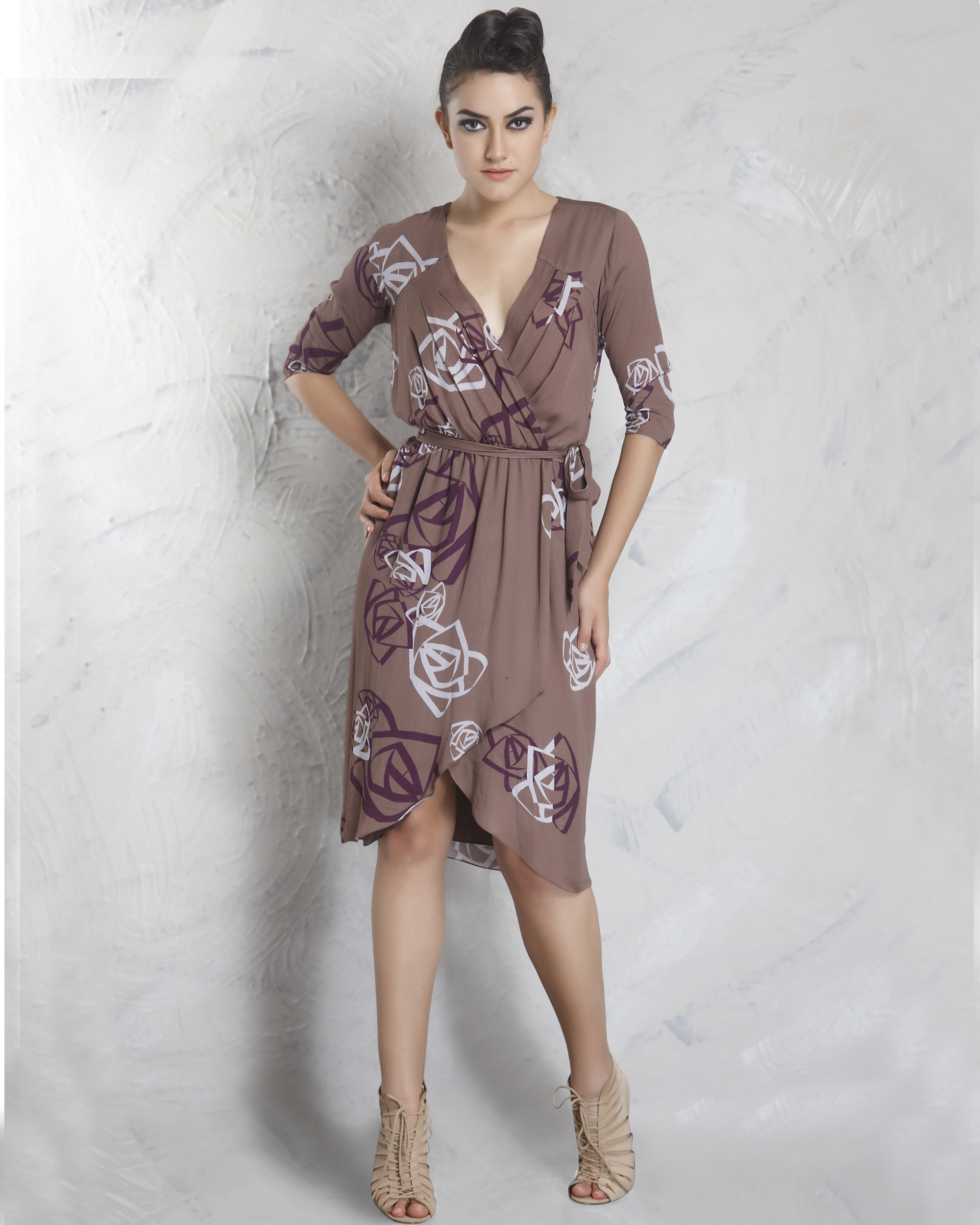 Digital printed wrap dress