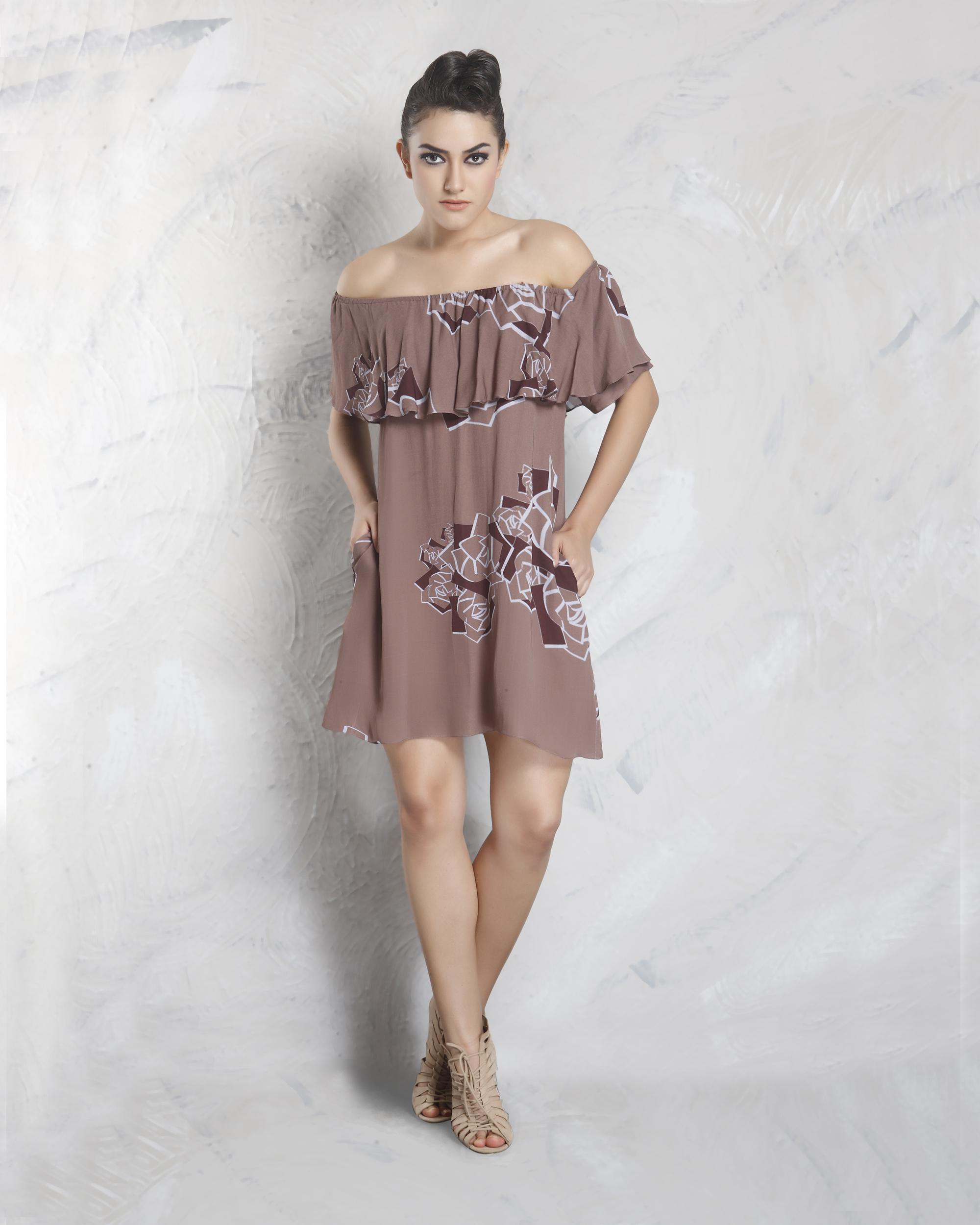Digital printed off shoulder dress