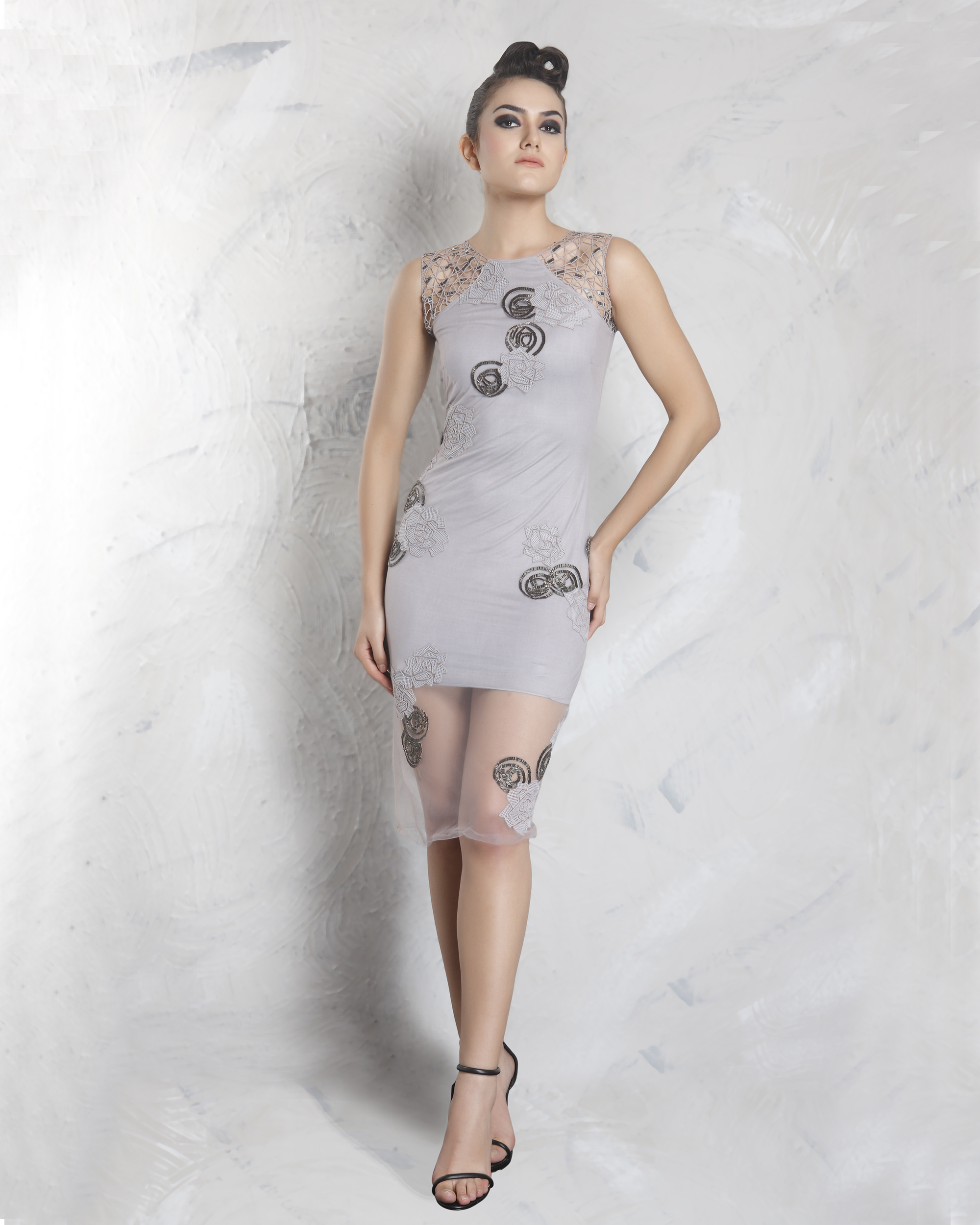 Silver fox grey mesh dress
