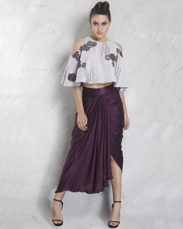 Wine silk drape skirt