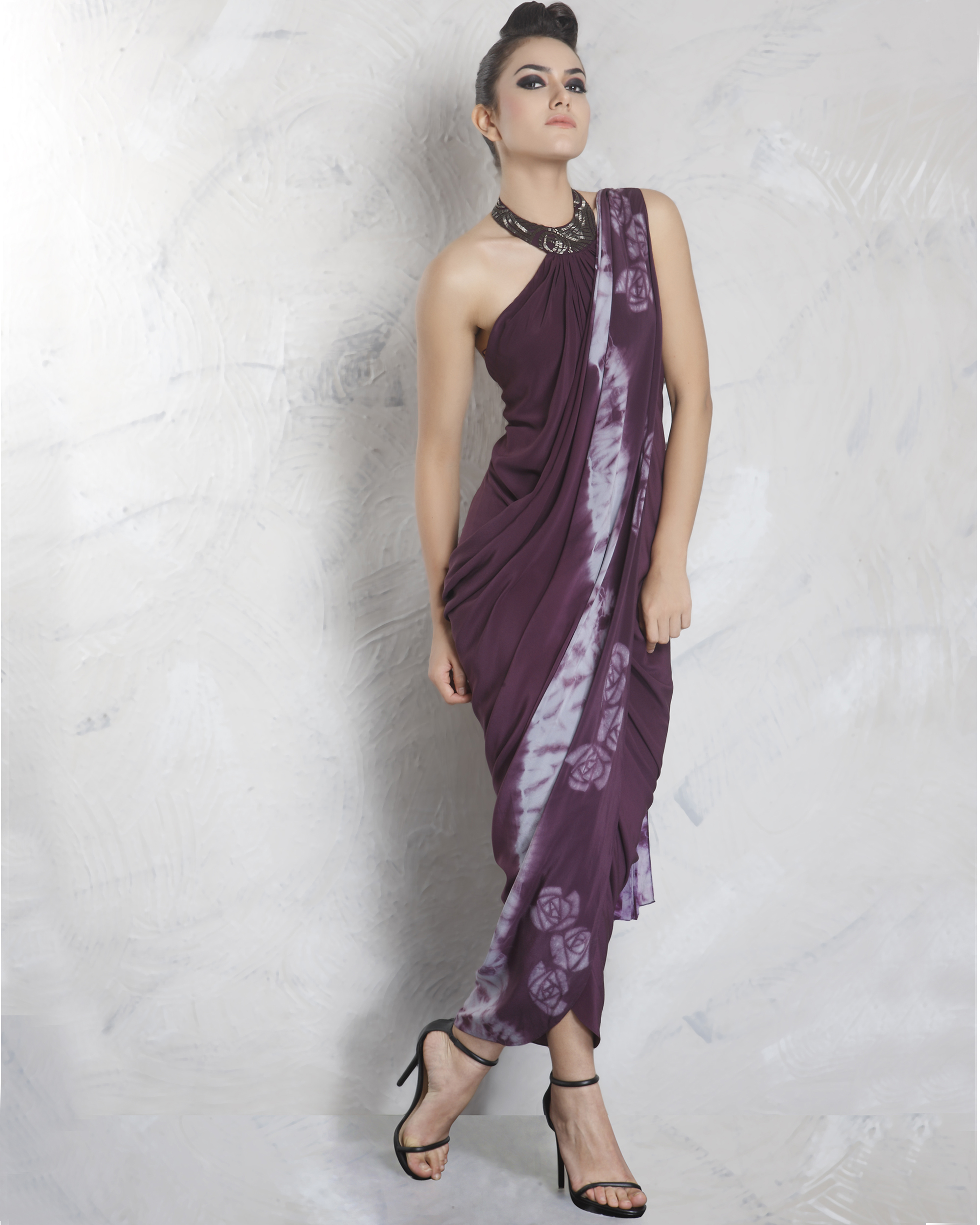 Milton purple embelished drape saree