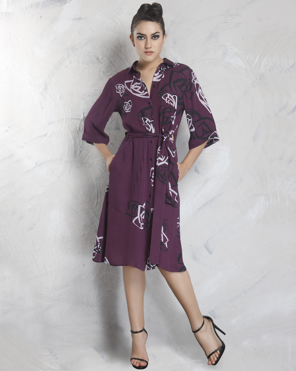 Milton purple shirt dress