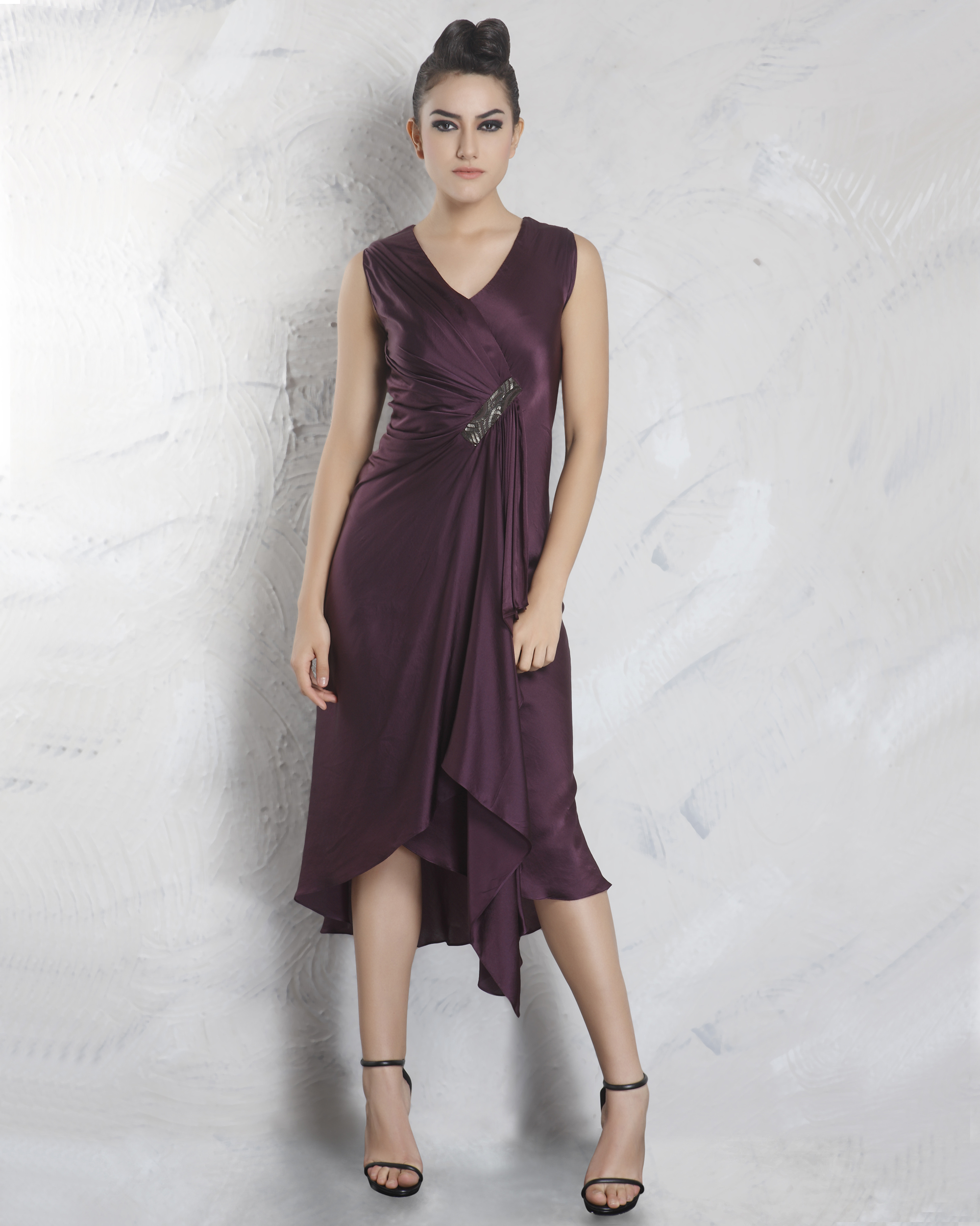 Purple pleated dress
