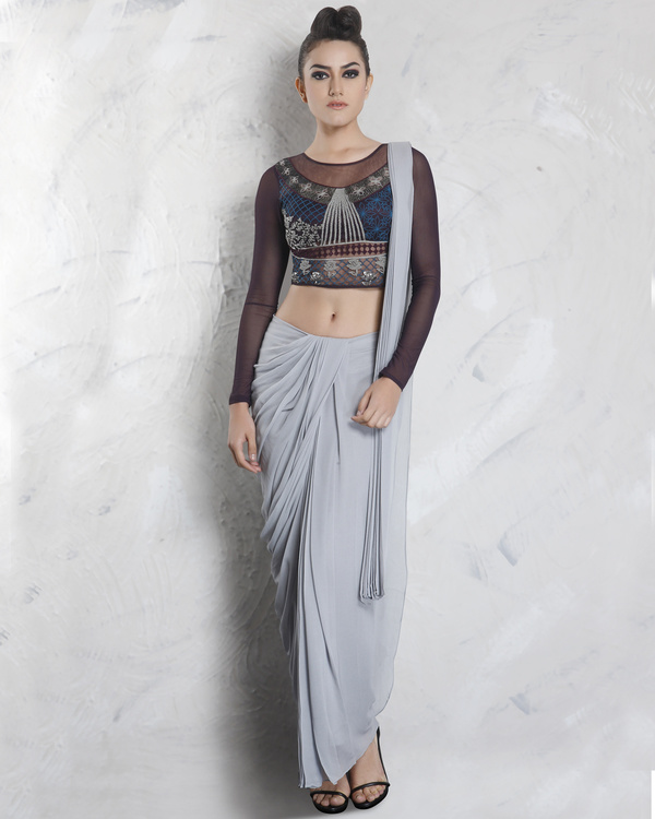 Grey drape saree