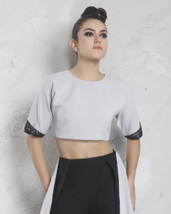 Two tone neoprene crop top